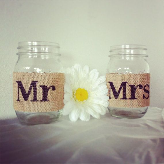 Tan Burlap Mr And Mrs Mason Jar Set Burlap Wedding Decorations Mason ...