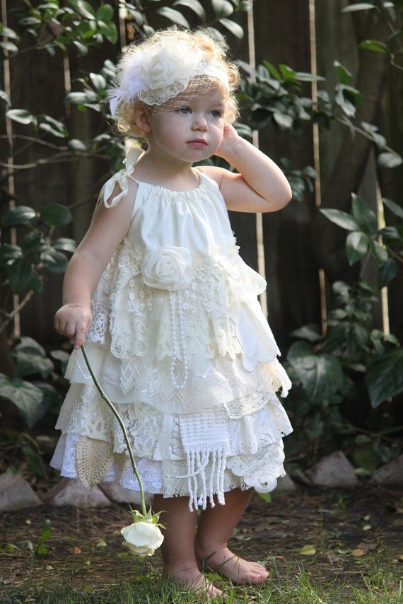 Lace Flower Girl Dress - Vintage Look - Shabby Chic Linens And Laces ...