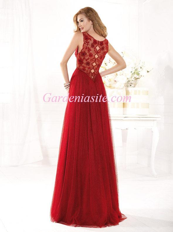 Hochzeit - A-line Jewel/Scoop Floor-length Appliques Criss Cross Ruffles/Pleats Tulle Formal Dress 2014