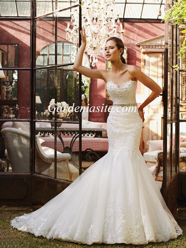 Wedding - Mermaid/Trumpet Sweetheart Court Train Appliques Shiny Crystals Tulle Wedding Dress 2014
