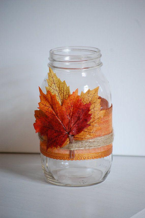 Autumn Twine Mason Jar Fall Shabby Chic Home Decor Rustic Wedding Thanksgiving Centerpiece