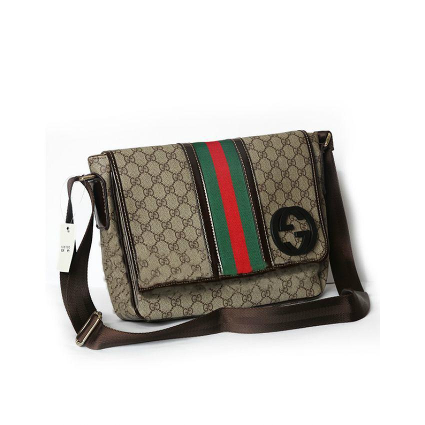 زفاف - GUCCI GG Messenger Bag With Signature Web in Brown