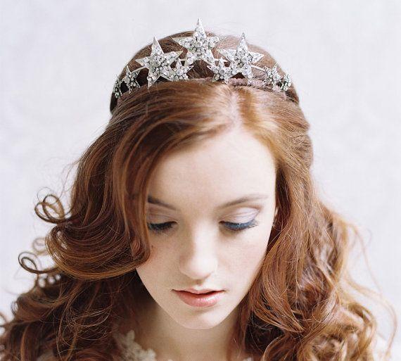 Mariage - Bridal Star Tiara, Rhinestone Bridal Crown - Stargazer Style No. 1970