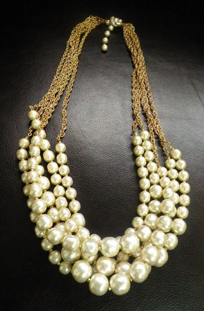 Свадьба - Signed MIRIAM HASKELL Pearl Necklace, Baroque Pearl, Clear Rhinestones 5 Strand