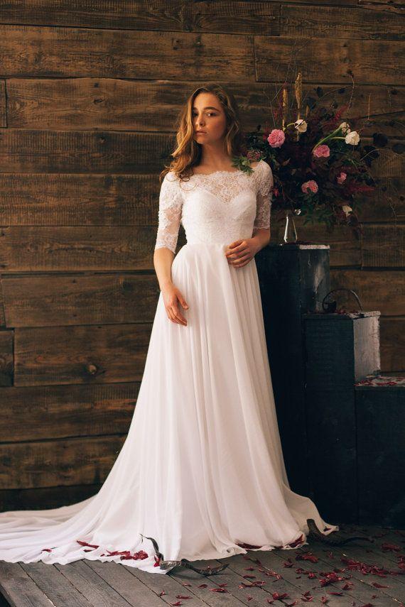Wedding - White Vintage Style Wedding Dress
