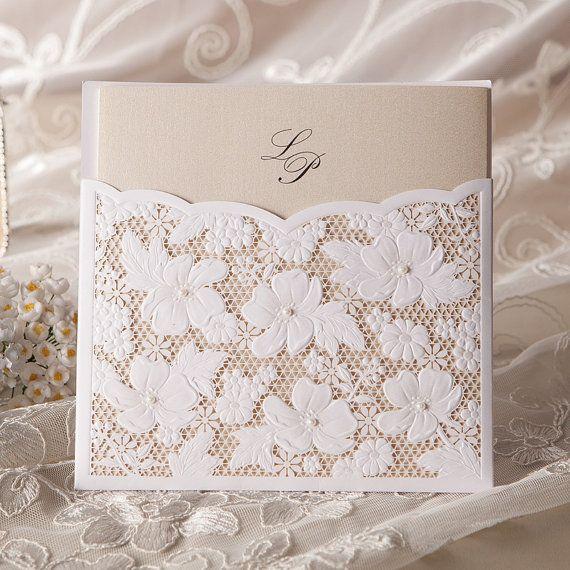 Свадьба - 50 Pcs Pure White Lace Wedding Invite Invitation With Envelopes And Seals -- Set Of 50 Pcs