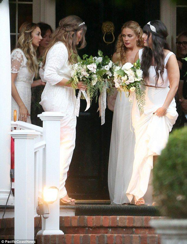 Ashlee Simpson Is A Beautiful Bride In Lacy White Gown And Headband ...