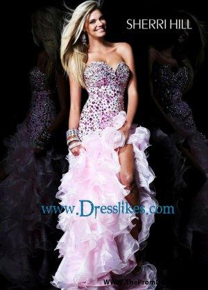 Beaded ruffle prom dress