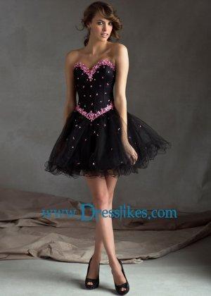 Wedding - Pink Rhinestone Beaded Short Black Corset Back Cocktail Dress