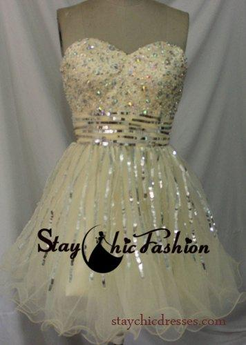 Wedding - Champagne Short Beaded Top Striped Sequined Sparkly Prom Party Dress