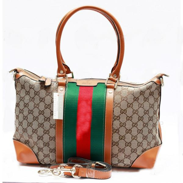 Mariage - GUCCI GG Logo Ladies Handbag With Signature Web In Brown