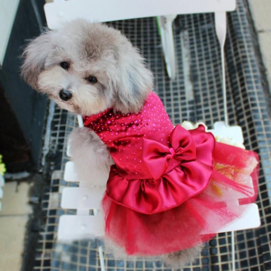 Свадьба - Dog Puppy Lace Skirt Clothes Bow Tutu Princess Dress Wedding Party Pet Apparel