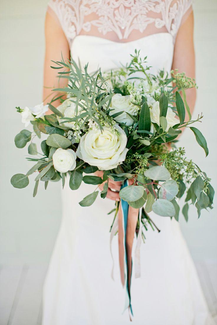 Wedding Bouquets With Lots Of Greenery : Wedding bouquet white rose and greenery
