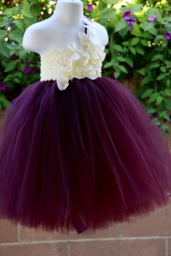 Flower Girl Dress Eggplant ,Plum Ivory Tutu Dress, Baby ...
