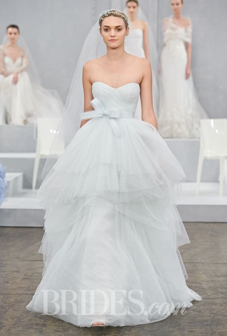 Wedding - Monique Lhuillier - Spring 2015 - Oceana Strapless Mint Tulle Ball Gown Wedding Dress With A Sweetheart Neckline And Tiered Skirt
