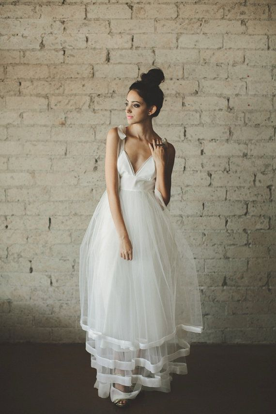 Hochzeit - Deep V Neck Floor Length A Line Tiered Tulle Wedding Dress - Juliana By Ouma