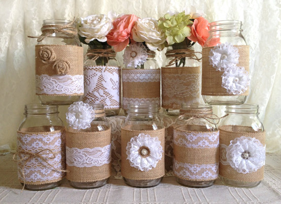 10x rustic burlap and white lace covered mason jar vases wedding decoration bridal shower engagement anniversary party decor