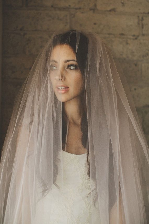 Wedding - Ombre Hand Dyed Blush Pink Bridal Veil ( Cathedral, Blusher, Double Tier, Elbow, Finger Tip ) By Ouma