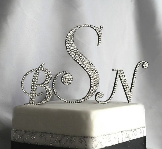 T A T T O O I N S P On Pinterest: Three Initial Monogram Cake Topper In Any Letters A B C D