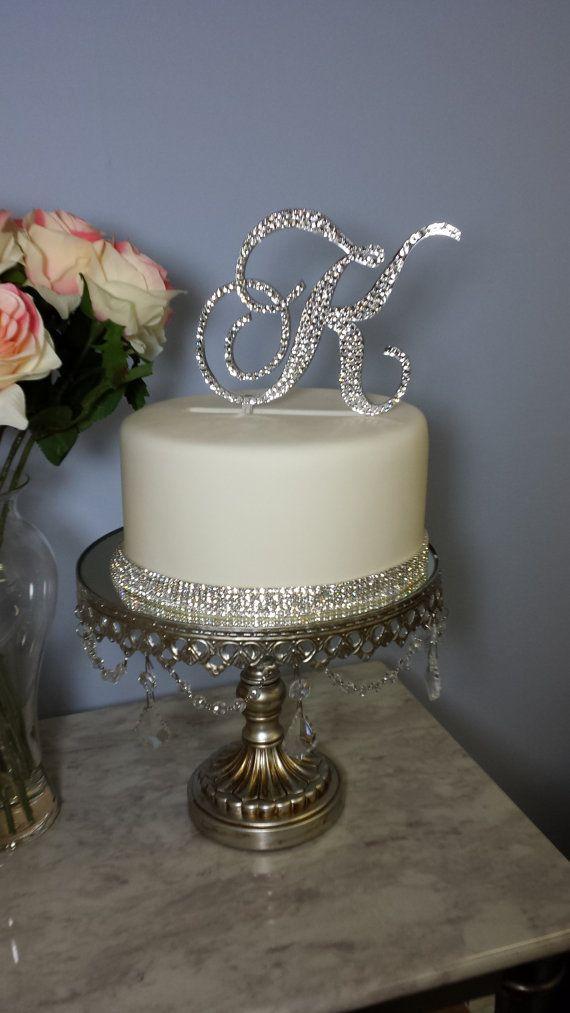 5 Tall Monogram Wedding Acrylic Cake Topper Czech Crystals Rhinestone Letter A B C D E F G H I J K L M N O P Q R S T U V W X Y Z