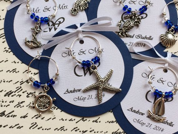 custom nautical themed wine charm favors weddings bridal shower rehearsal dinner anniversary birthday party or special event
