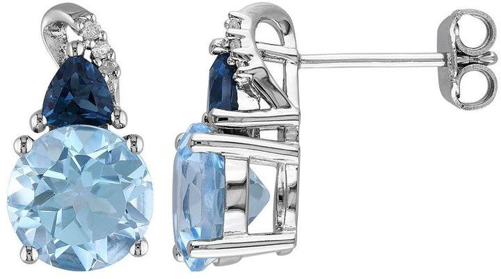Свадьба - Sky blue topaz, london blue topaz & diamond accent sterling silver stud earrings