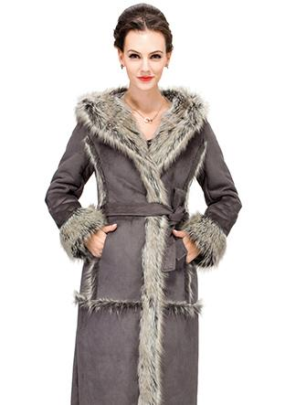 Свадьба - Gray faux suede with fox fur women full length coat