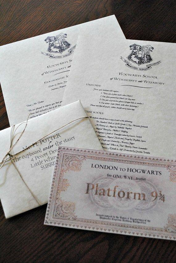 Mariage - Personalized Harry Potter Hogwarts Acceptance Letter (Includes FREE Ticket On Hogwarts Express)