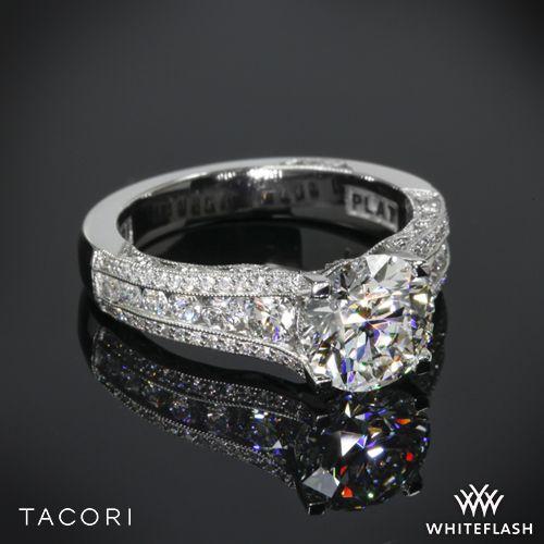 زفاف - Platinum Tacori Classic Crescent Tapered Diamond Engagement Ring For 2.25ct Center
