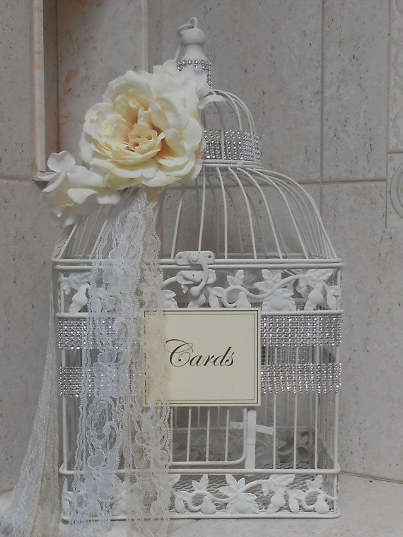 Romantic Birdcage Wedding Cardholder Birdcage Card Box White