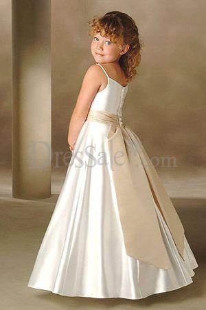 Свадьба - Spaghetti Neckline Satin Baby Flower Girls Dress