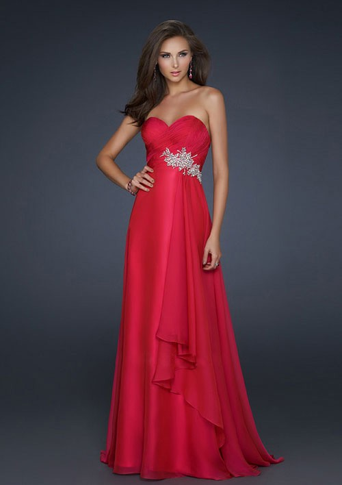 Hochzeit - A-line Sweetheart Floor-length Natural Chiffon Prom Dresses