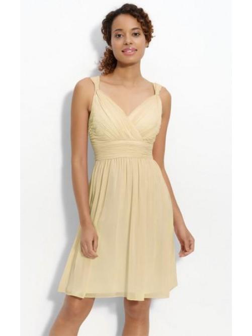 Hochzeit - Short Beige Bridesmaid Dress