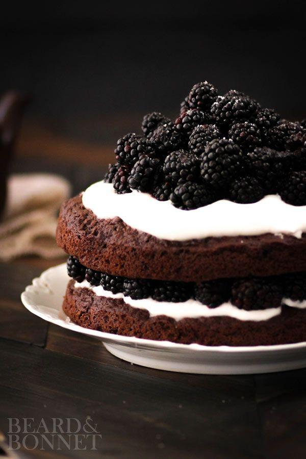 Hochzeit - Naked Chocolate Cake With Blackberries And Whipped Coconut Cream