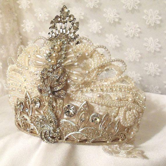 Mariage - Wedding Crown, Couronne De Mariée, Royal Head Piece, Vintage Rhinestones, Haute Wedding Accessory