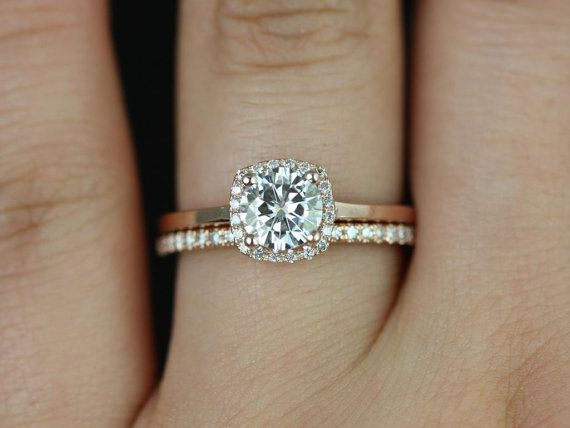 Mariage - Petite Size Bella & Dia Barra 14kt FB Moissanite And Diamonds Cushion Halo Wedding Set (Other Metals And Stone Options Available)