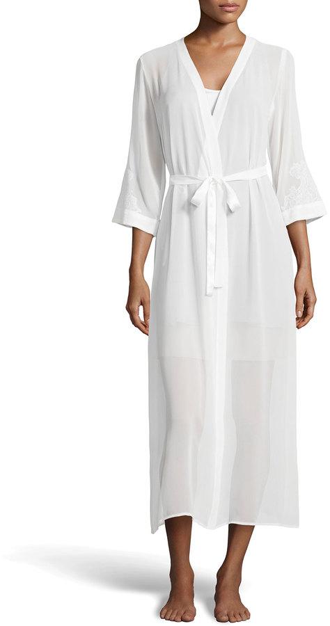 Hochzeit - Oscar de la Renta Pink Label Lace-Applique Chiffon Bridal Robe, Pearl