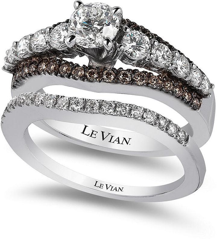 Le Vian Bridal Chocolate Diamond And White Certified Engagement Set In 14k Gold 1 5 8 Ct T W