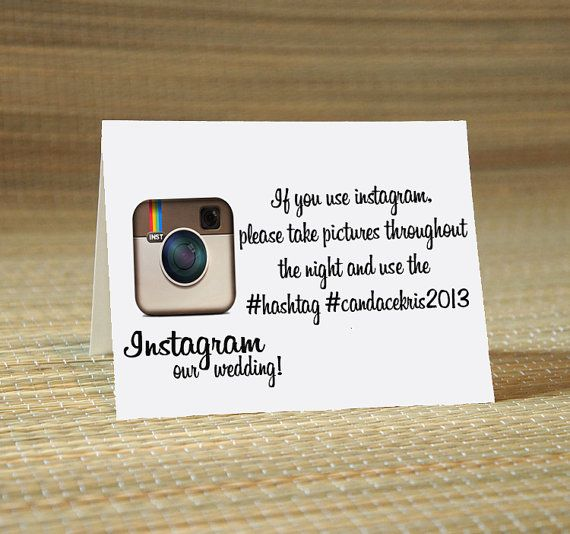Instagram my wedding hashtag cards wedding calligraphy for Design table name cards