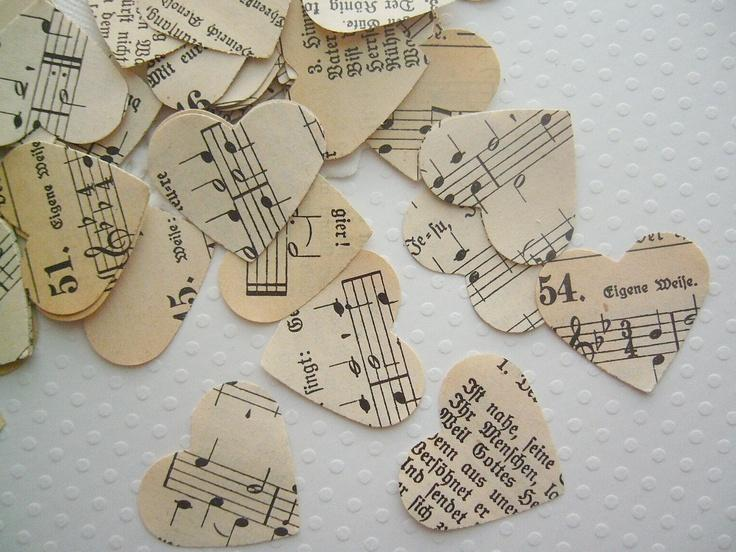 Свадьба - Vintage Wedding - Romantic Vintage Heart Confetti - German Hymnal