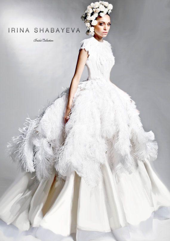 Wedding - IRINA SHABAYEVA COUTURE Feather Queen Elizabeth Ball Gown Style Dress