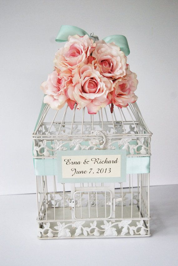 Custom LARGE Wedding Birdcage Card Holder Money Holder - Blush Pale ...