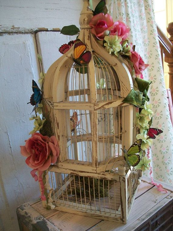 Wedding Birdcage White Wood Card Holder Money Holder Garden