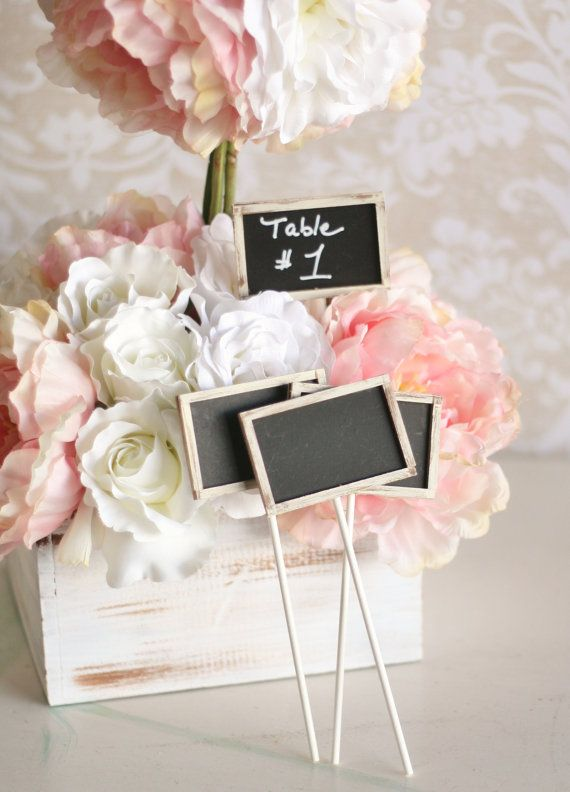 Mariage - SET Of 12 Rustic Chic Chalkboards On Sticks Table Numbers (item P10511)