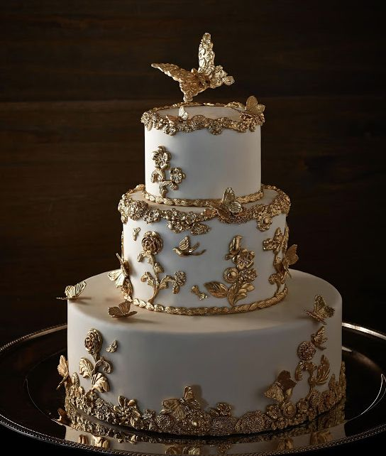 Gold Wedding White Gold Wedding Cakes 2168277 Weddbook