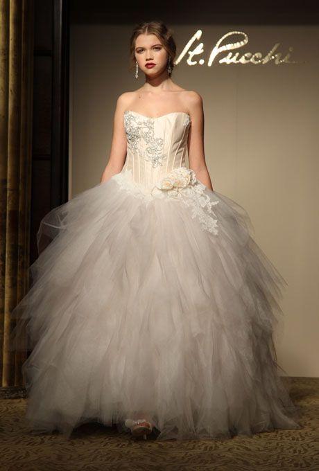 زفاف - St. Pucchi - Fall 2012 - Strapless Satin And Lace A-Line Wedding Dress With Jacket