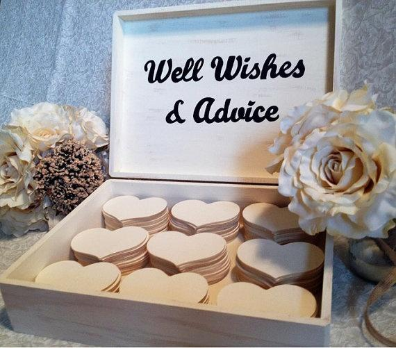 customized large wedding guest book box alternative shabby chic rustic advice for bride groom well wishes wooden hearts favors