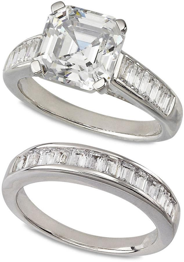 Sterling Silver Ring Set Swarovski Zirconia Bridal And Band 10 1 5 Ct Tw