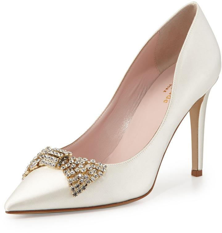 Свадьба - Kate Spade New York Pezz Satin Crystal Bridal Pump, Ivory