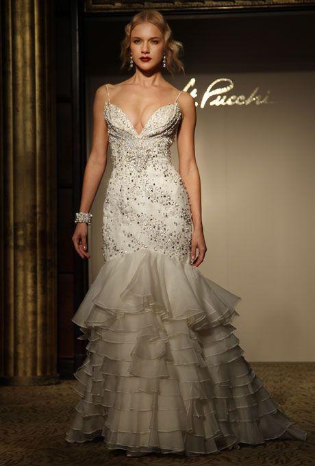 زفاف - St. Pucchi - Fall 2012 - Sleeveless Beaded Chiffon Mermaid Wedding Dress With Deep V-Neckline